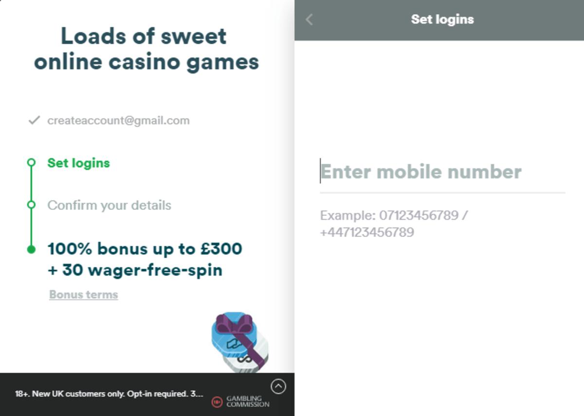 Casumo Casino account registration picture